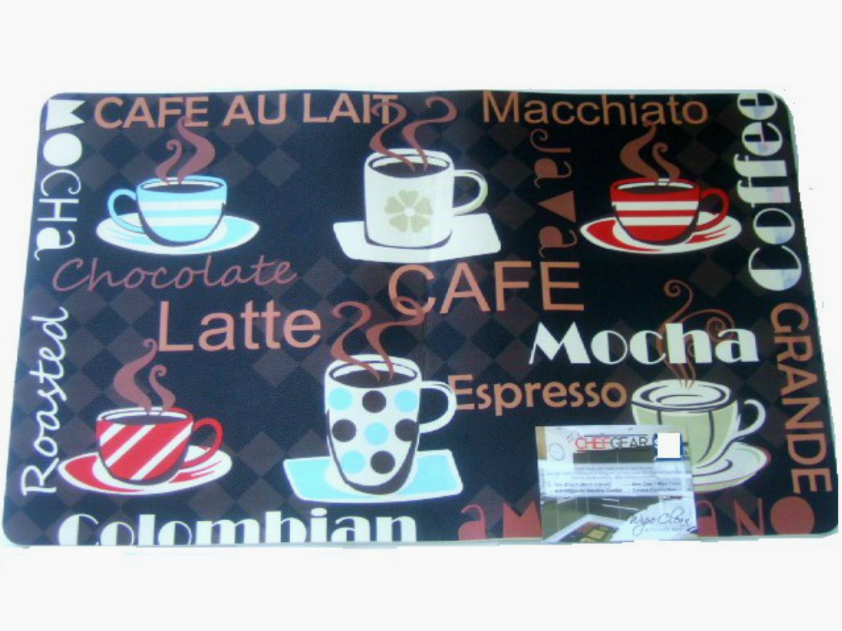 Coffee Cups Kitchen Rug Espresso Latte Mocha Mat