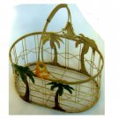 Tropical Palm Tree Metal Basket