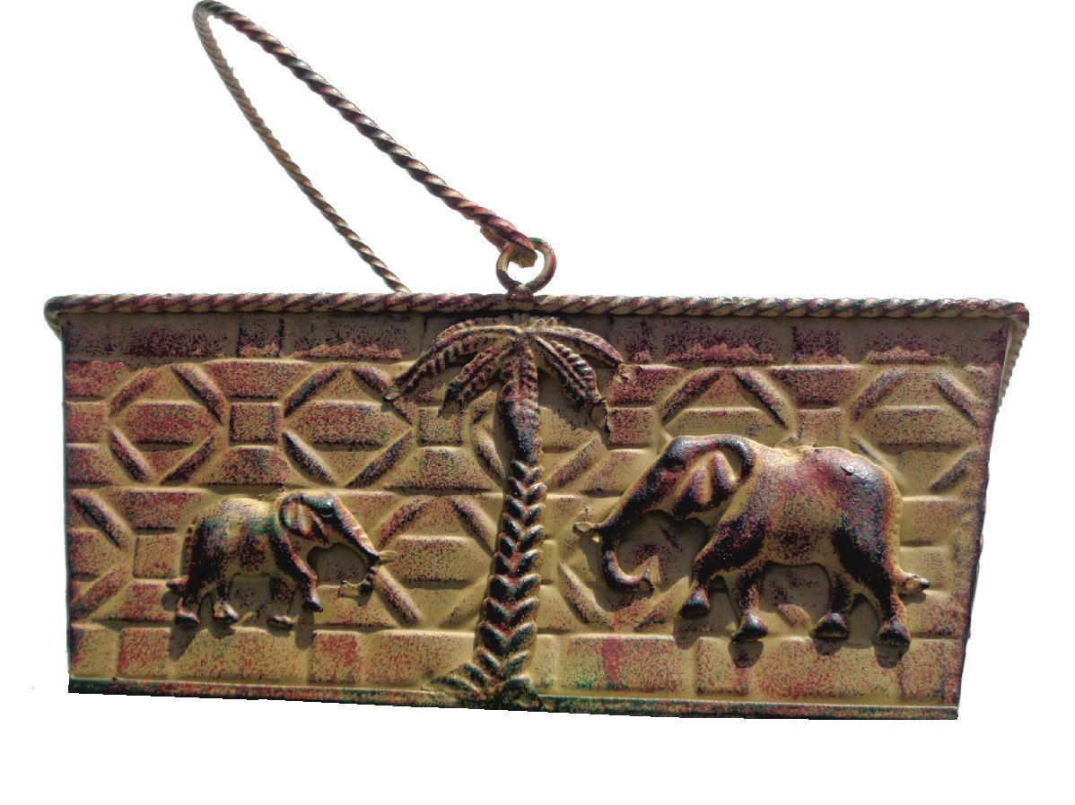 Elephants and Tropical Palm Trees Metal Basket