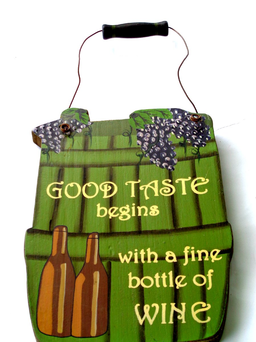 Wine Bottle Grapes Kitchen Bar Sign
