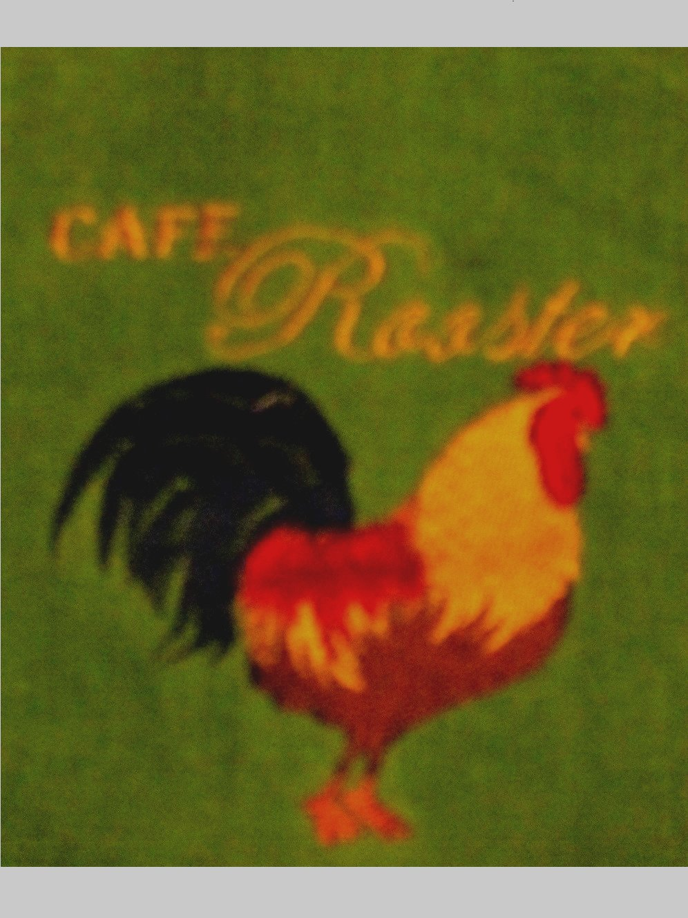 Green Kitchen Towels with Emboidered Roosters Cafe Rooster