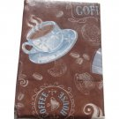 Brown Blue Coffee Cups Tablecloth