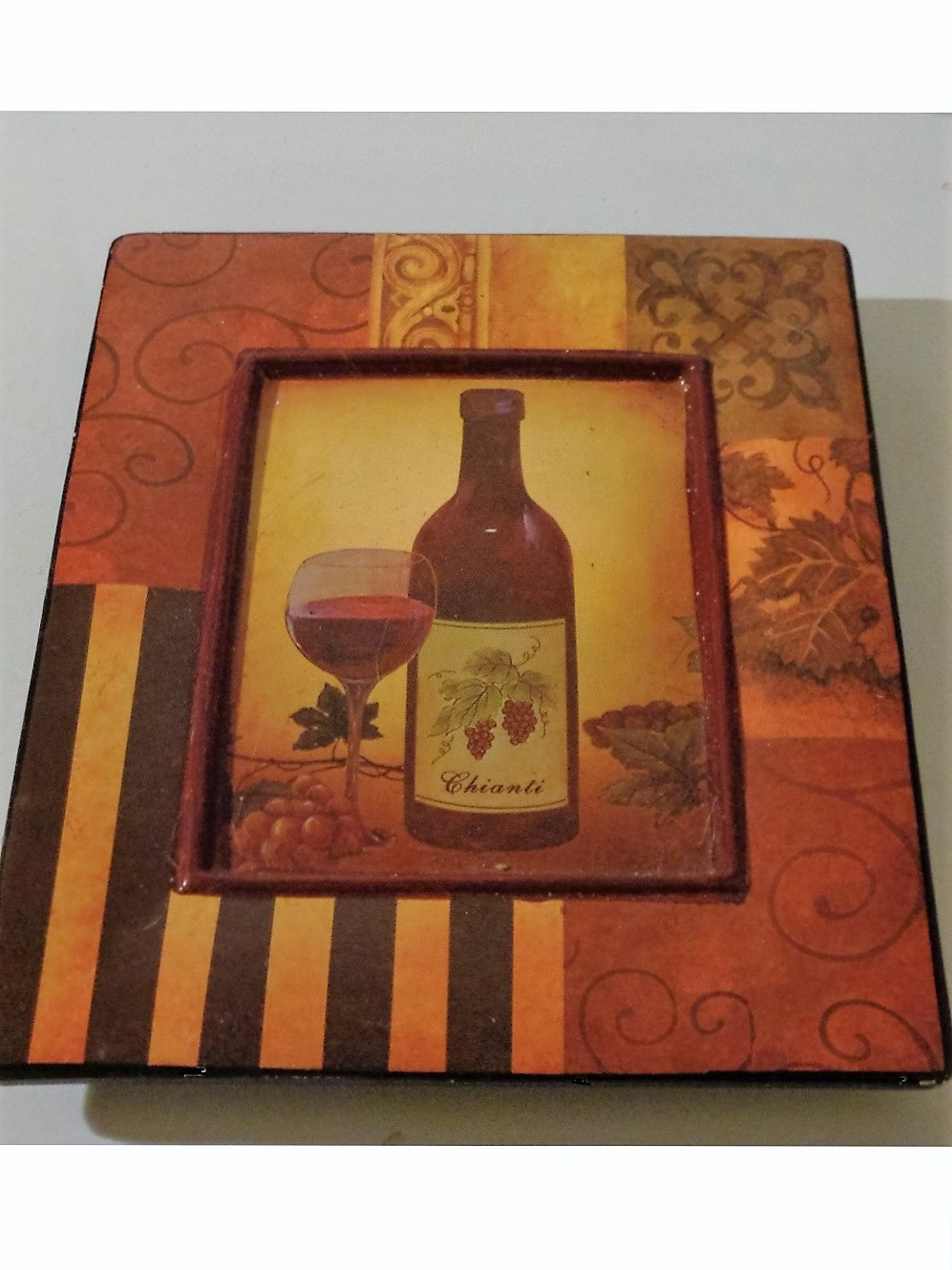 Tuscan Wine Bottle Glass of Chianti  Grapes Ceramic Wall Plaque