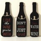 Wine Bottle Wall Hooks Black Wood Kitchen Signs