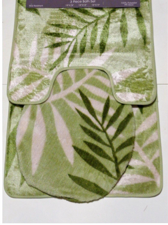 Green Ferns Bath Mat Set 3 Pieces Botanical Motif