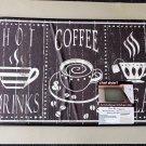Black White Coffee Cups Comfort Kitchen Rug