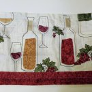 Wine Bottles Grapes Kitchen Curtains Set Tiers Valance Set