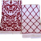 Kitchen Towels Damask Trellis Linens Red White
