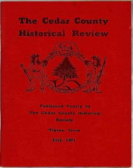1971 Iowa Cedar County Historical Review, limited edition
