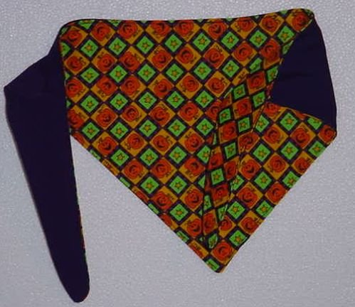 Dog Bandana Halloween Fall Handcrafted reverseible jack-o-lantern on one side ec 305