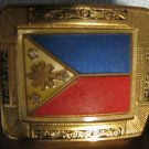 Vintage Gold Plate PHILIPPINES Flag Belt Buckle Ornate