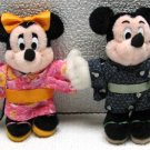 DISNEY MICKEY & MINNIE MOUSE KIMONO Plush Pins Tokyo 1998