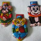 3 Tin Monkey Clickers Noisemakers Toys