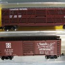 Atlas N Scale Canadian National 50' Stock Car + 40' Box Car Santa-Fe MIB