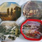 Vintage Tin Metal Snack Trays - Set of 6