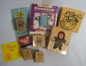 Wood Mounted Rubber Stamps Lot - Childrens Toys