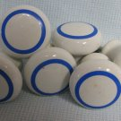 6 Ceramic  White Blue Cabinet Knobs