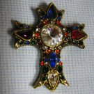 Vintage Rhinestone Cross - Unique Brooch