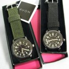 AVON Military Style Black Canvas Strap Watch MIB