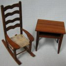 Wood Rocker Rattan Chair and Table Dollhouse Miniatures Furniture MOC