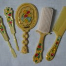 Vintage Hair Brush Comb Mirror Vanity Set Toys