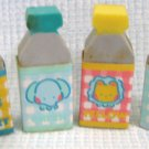 Vintage Miniature Juice Bottle Erasers Sanrio 1983