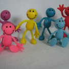 6 Smiley Happy Face Bendy Figures Colorful Bendems