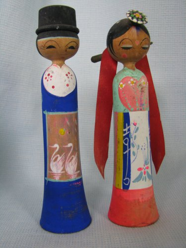 Japanese Wood Kokeshi Bride n Groom Wedding Couple