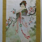 Japanese Scroll Hand Painted Geisha Cherry Blossoms