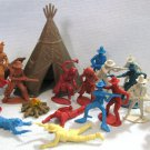 Cowboys + Indians Teepee Plastic Western Playset Figures Lot Toys