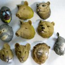 Vintage Rubber Beasts Mini Animal Heads