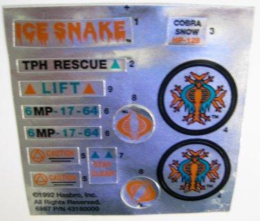 GI Joe Ice Snake Vehicle Replacement Foil Sticker Sheet