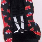 Fire engine truck toddler convertable car seat cover - red and black with minky dot