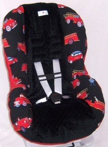 fire engine truck toddler convertable car seat cover red and black with minky dot. Black Bedroom Furniture Sets. Home Design Ideas