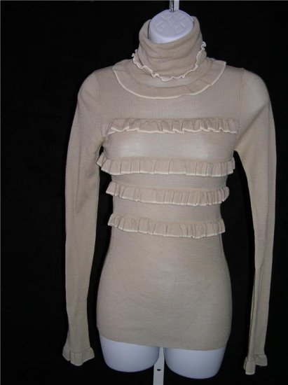 Tevrow Chase Victorian Skivvie Wool Knitted Beige Sweater