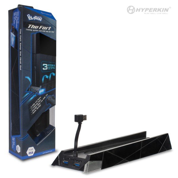 "PS4 ""The Fort"" Vertical Cooling Stand with 4 Port USB 3.0 Hub - Polygon"