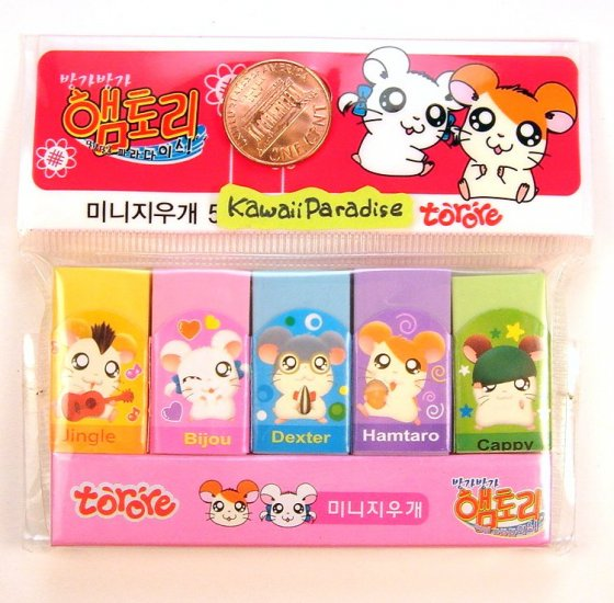 super kawaii HAMTARO hamster 5 mini ERASER SETS soft pastel colors
