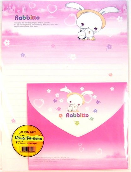 simon art kawaii RABBITTO character LETTER SET bunny flowers new 6