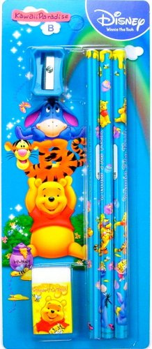 disney WINNIE THE POOH blue WOODEN PENCILS sharpener ERASER SET new