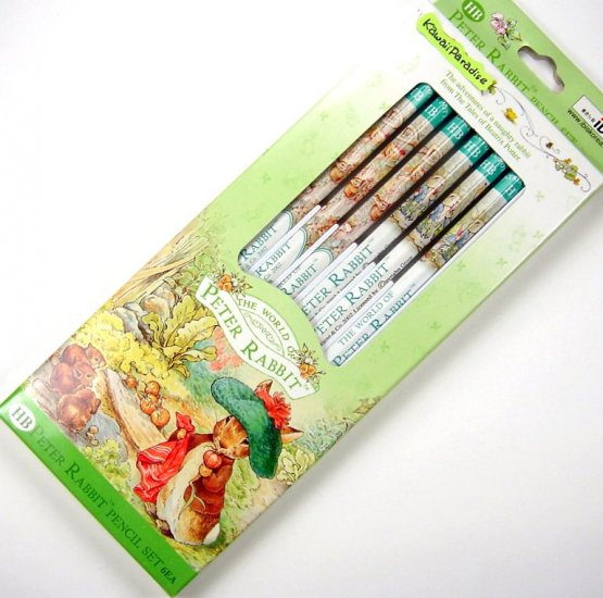 WOLRD OF PETER RABBIT 6 wooden PENCIL SET #2/HB beatrix potter green NEW