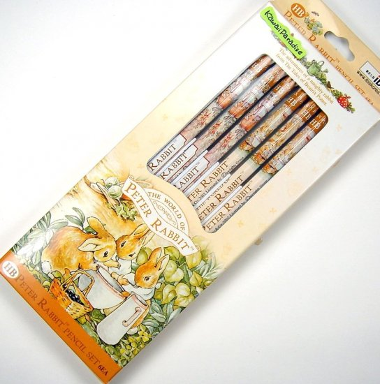 WOLRD OF PETER RABBIT 6 wooden PENCIL SET #2/HB beatrix potter tan NEW