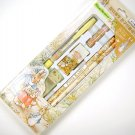 WOLRD OF PETER RABBIT stationery writing GIFT SET mechanical wooden pencil eraser leads cap tan NEW