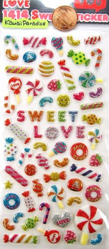 fun SUPER GLITTER PUFFY STICKERS for scrapbooking decoration candy cane lollipop