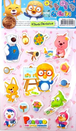 korean anime PORORO PENGUIN super cute CUSHY STICKERS new 3