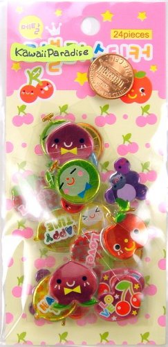 YUMMY FRUIT METALLIC super kawaii SACK STICKERS strawberry grape melon peach cherry banana orange