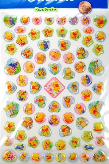 disney WINNIE THE POOH super kawaii EPOXY STICKERS glitter