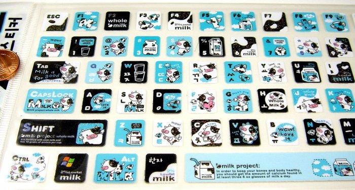 super kawaii MILK PROJECT glitter KEYBOARD STICKERS cute cow character blue NEW 3