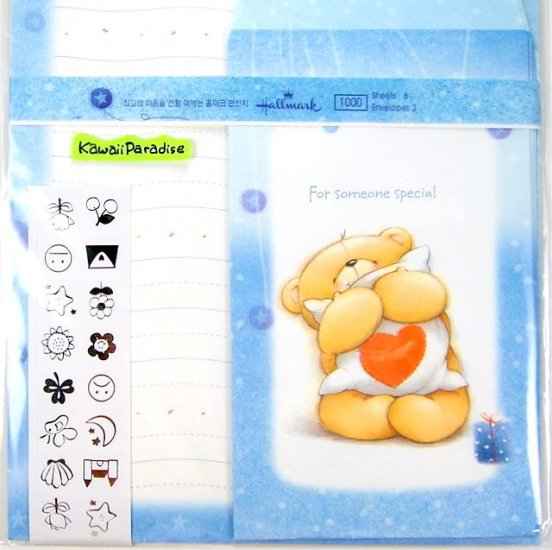 hallmark korea FOR SOMEONE SPECIAL super cute LETTER SET stickers teddy bear heart pillow blue