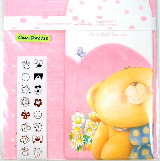 hallmark korea SO GLAD I FOUND YOU super cute LETTER SET stickers teddy bear flowers
