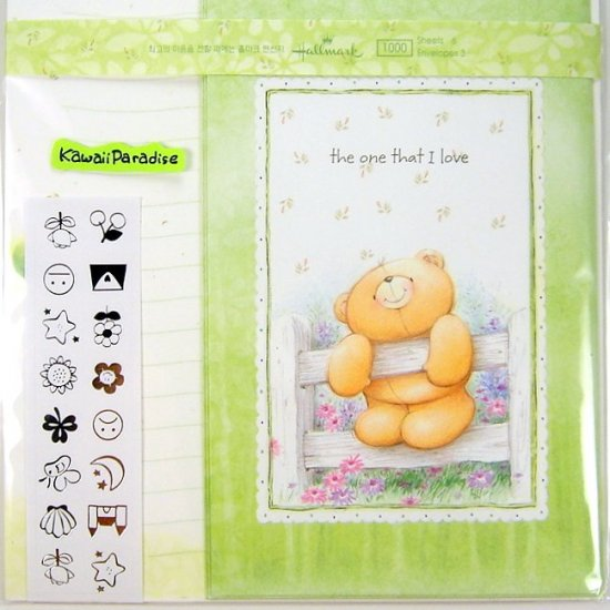 hallmark korea THE ONE THAT I LOVE super cute LETTER SET stickers teddy bear flowers
